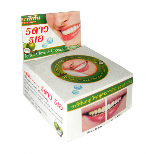 Тайская круглая зубная паста «Кокос+гвоздика»,25 гр